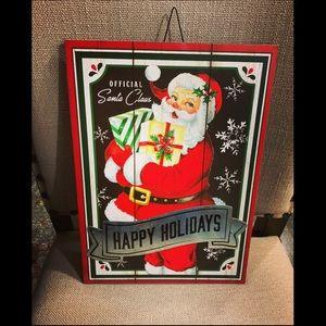 Vintage look Santa Hanging/Stake Sign NWT